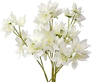 MINYULUA 4PCS Artificial Snow Lotus Flowers Silk Flowers Real-Touch Lotus Flowers Bouquets Fuax Floral Table Centerpieces Arrangements Home Kitchen Office Indoor Outdoor Spring Decorations White