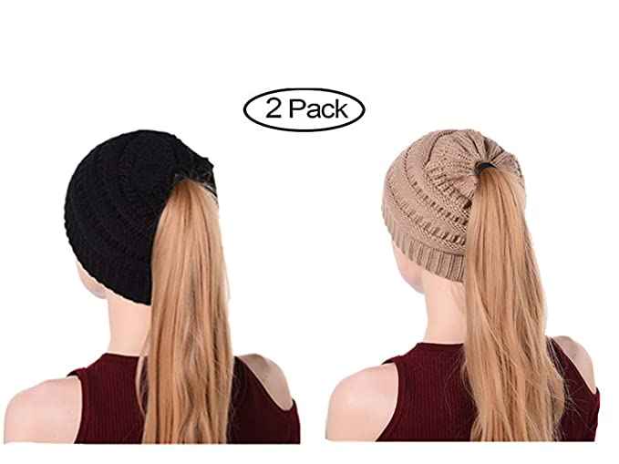4c8fe9e23 Nhmpretty Women's Winter Knit Cup Beanie Tail Ponytail Winter Warm Stretch  Cable Messy High Bun Knit Hat