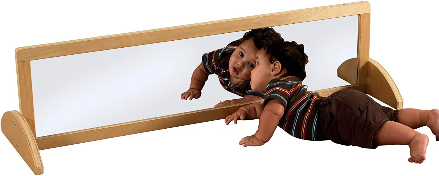 Toddlers and Kids 4 Feet Tall Standing Floor Mirror for Preschool ECR4Kids Double-Sided Shatterproof Bi-Directional Birch Frame Full-Length Floor Mirror for Babies Daycare or Home Use