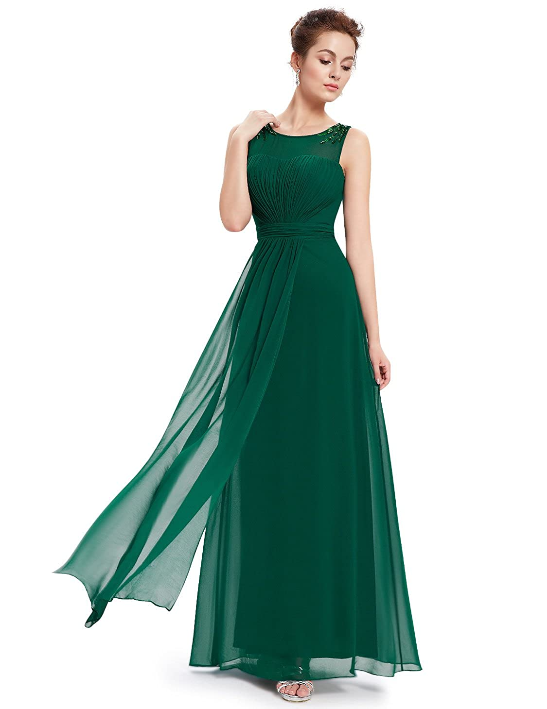 Ever-Pretty Womens Round Neck Ruffled Dimante Long Evening Dress 18UK Green: Amazon.co.uk: Clothing