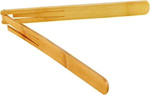 """HOME-X 100% Natural Bamboo Tongs, Eco-Friendly Kitchen Utensil, Toast Tongs, Space Saving, Modern Kitchen Accessory for Home and Restaurant-11"""" L"""