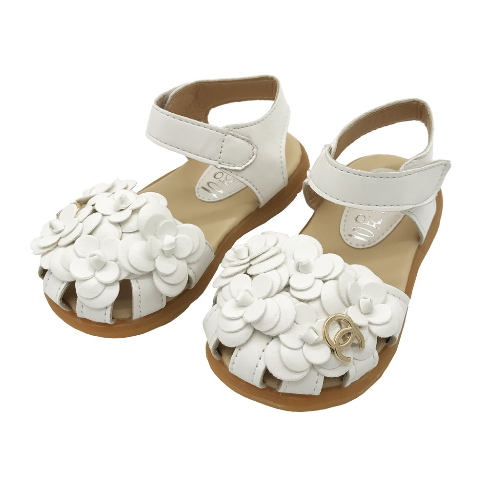 LINKEY Toddler Girl's Summer Closed Toe Floral Sandals Princess Flat Shoes White Size 22