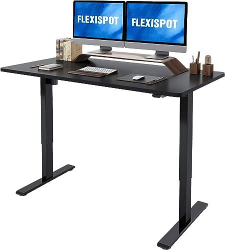 Flexispot Standing Desk Height Adjustable Desk Electric Sit Stand Up Desk Home Office Desks 55 x 28 Inches Vici Black Frame Black Top