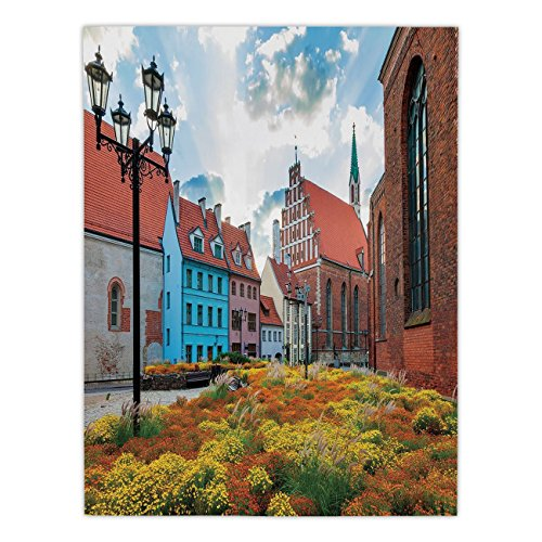 (Polyester Rectangular Tablecloth,Victorian Decor,Old City Riga Latvia Capital with Historical Buildings Medieval Town Image Decorative,Multicolor,Dining Room Kitchen Picnic Table Cloth Cover,for Outdo)