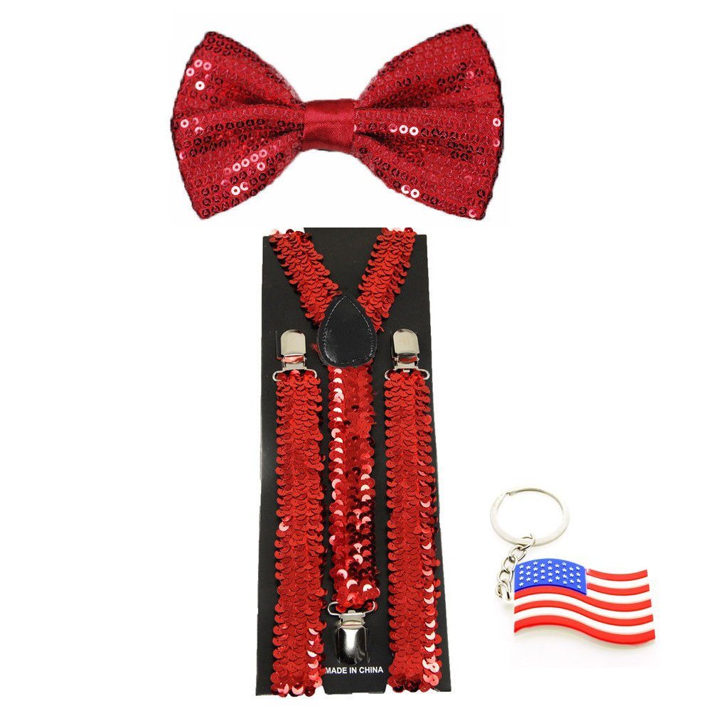 Suspender & Bowtie Sequin Red Y-back Clip on Adjustable Free USA Keychain ACCmall