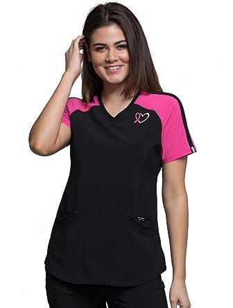 654a7dd0b83 Amazon.com: Cherokee Infinity Women's V-Neck Colorblock Solid Scrub Top:  Clothing