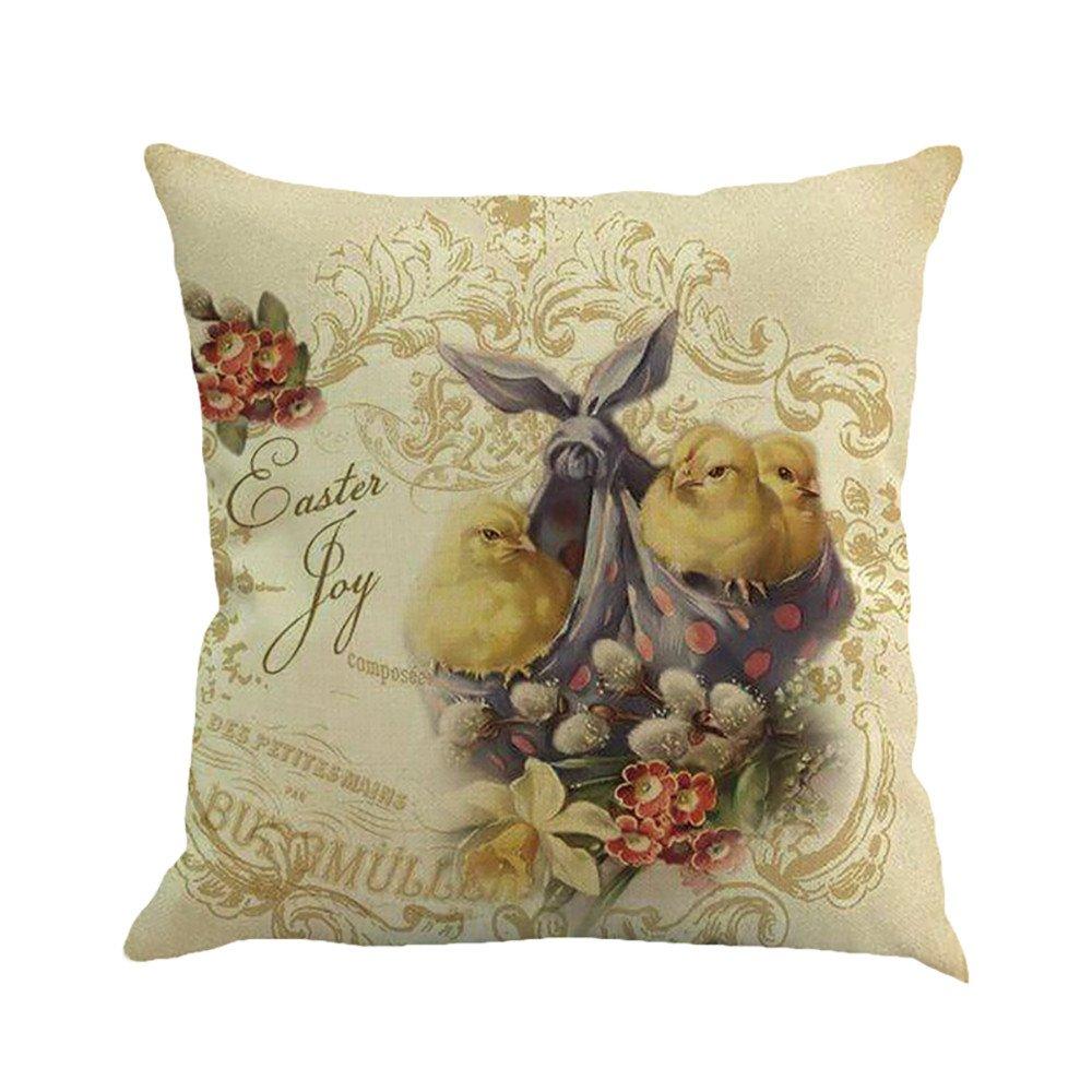 Pillow Case, Square Happy Easter Egg Rabbit Print Decorative Throw Pillow Case Bed Home Decor Car Sofa Waist Cushion Cover
