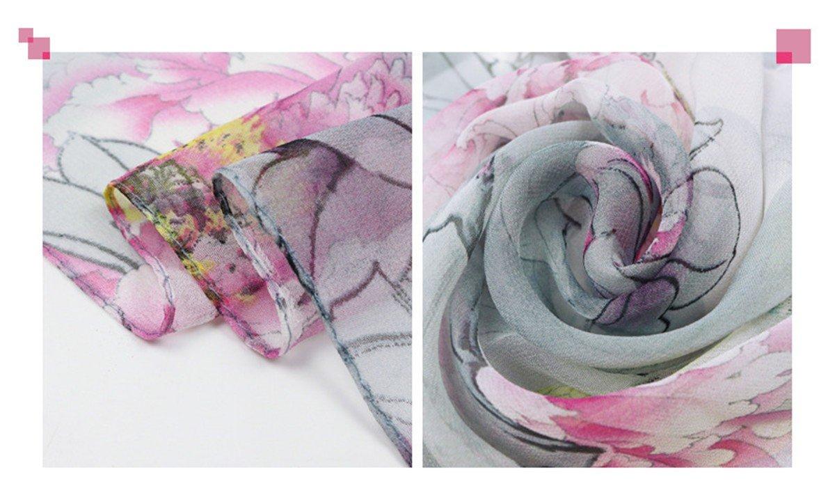 2018 New Seidentuch Simulation Seidentuch blau 160 * 50cm European Fashion Schal DYEWD Schals,Damen Schal Strand Sonnencreme Strandtuch Schal Geschenk Schal Pfingstrose Floral Schal