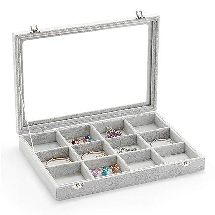 Amazon Com Rj Displays Ice Gray Velvet Decorative 12 Slot Jewelry