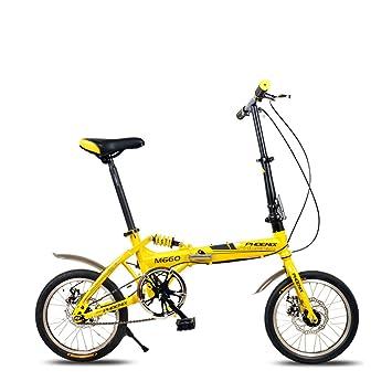 XQ F514 16 Pulgadas Bicicleta Plegable De Adultos De Una Sola Velocidad Que Amortigua El Amarillo