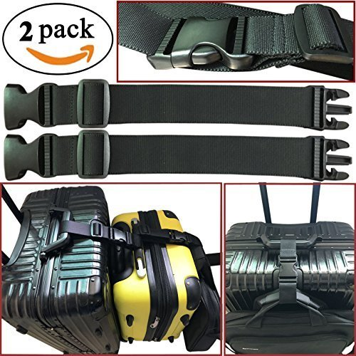Strap Attachment (2pcs Two Add a Bag Luggage Strap Travel Luggage Suitcase Adjustable belt Travel Accessories Travel Attachment - Connect your 3 luggages)