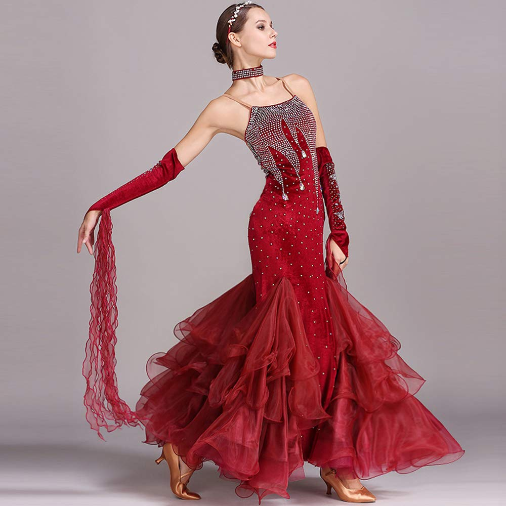 現代の女性大きな振り子ベルベットモダンダンスドレスタンゴとワルツダンスドレスダンスコンペティションスカートフックポイントラインストーンダンスコスチューム B07HHRBTB2  Red Large