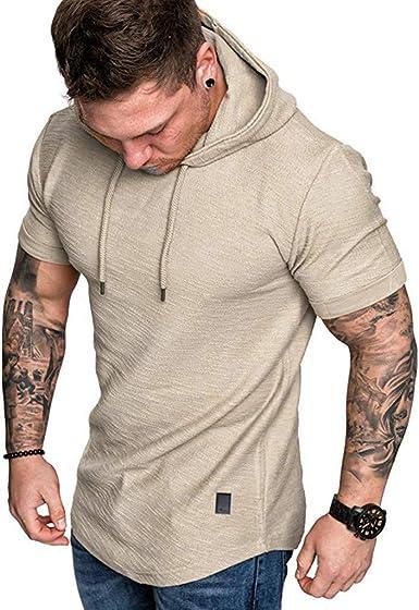 Fannyfuny camiseta Hombre Verano Camisa Elástica de Fitness Tank Top Gym Fitness Muscle de Manga Corta con Capucha Culturismo Bolsillos de Secado Ajustado: Amazon.es: Ropa y accesorios