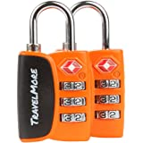 2 Pack TravelMore TSA Luggage Padlocks – 3 Digit Combination Travel Locks With Search Alert For Suitcase & Backpack – Orange
