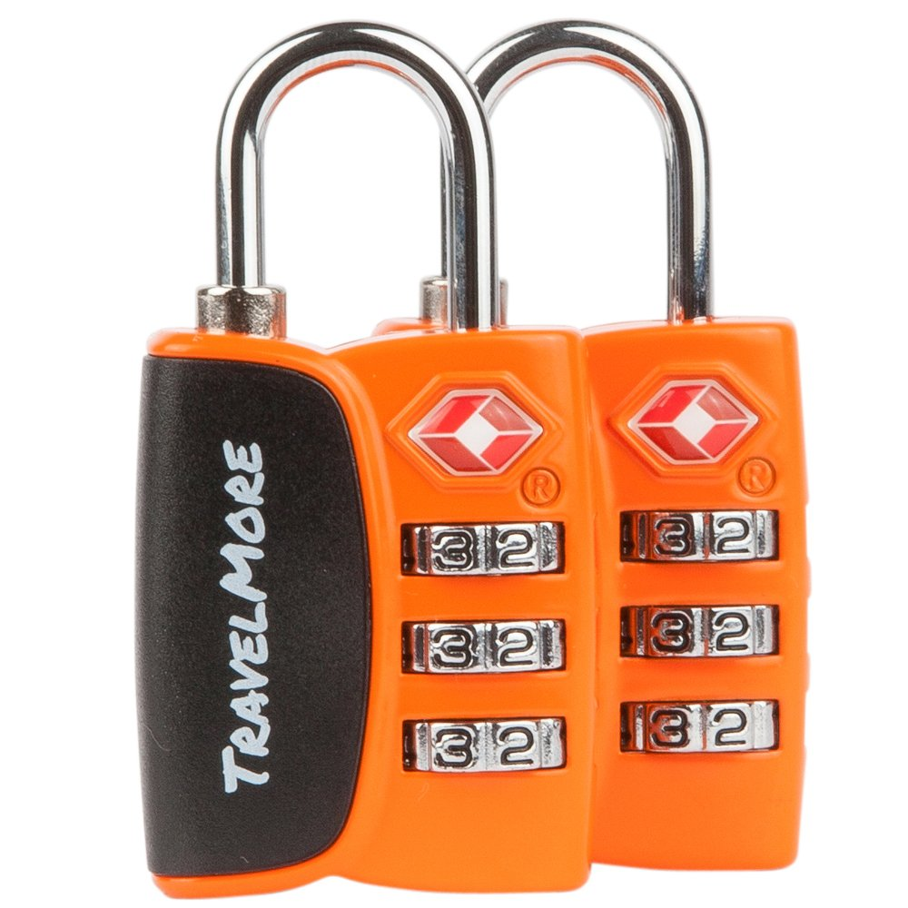 2 Pack Open Alert Indicator TSA Approved 3 Digit Luggage Locks for Travel Suitcase & Baggage (Orange)
