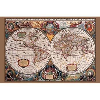 Amazon 17th century world map poster print world globe 17th century world map poster print gumiabroncs Choice Image