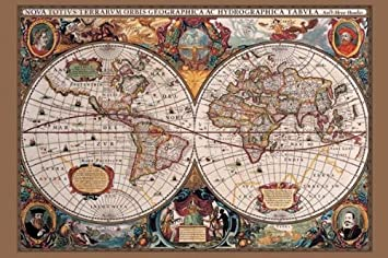 Amazon 17th century world map poster print world globe 17th century world map poster print sciox Image collections
