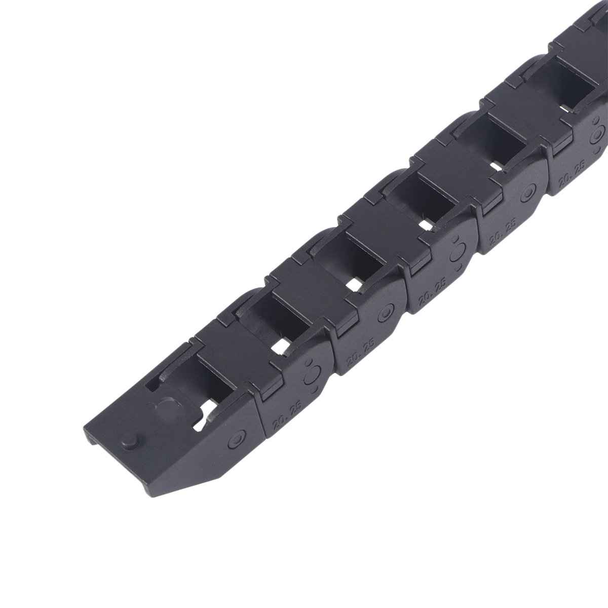 UEETEK Black Plastic Flexible Nested Semi Closed Drag Chain Cable Wire Carrier 455mm x 25mm x 20mm for Electrical Machines