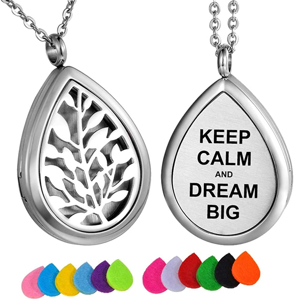 HooAMI Aromatherapy Essential Oil Diffuser Necklace Engraved Pendant Locket Jewelry - Keep Calm and Dream Big
