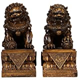 Large Size Wealth Porsperity Pair of Fu Foo Dogs Guardian Lion Statues,Best Housewarming Congratulatory Gift to Ward Off Evil Energy,Feng Shui Decor (8.8Hx6.5Lx4.2W each)