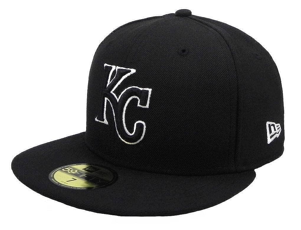 Amazon.com  New Era 59Fifty Hat MLB Kansas City Royals Black White Fitted  Cap (7 3 4)  Clothing 08b6516ba90