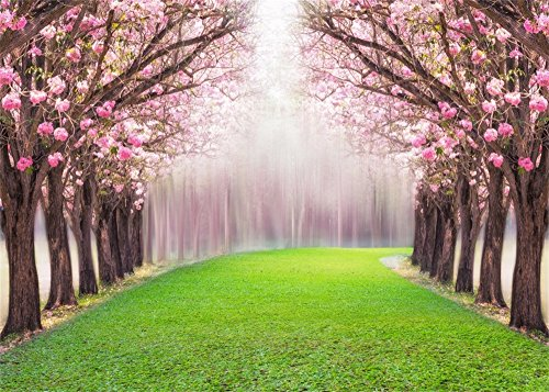 Leowefowa 7X5FT Cherry Blossom Backdrop Enchanted Garden Backdrops for Photography Forest Trees Green Grassland Wedding Ceremony Vinyl Photo Background Bride Lover Studio Props ()