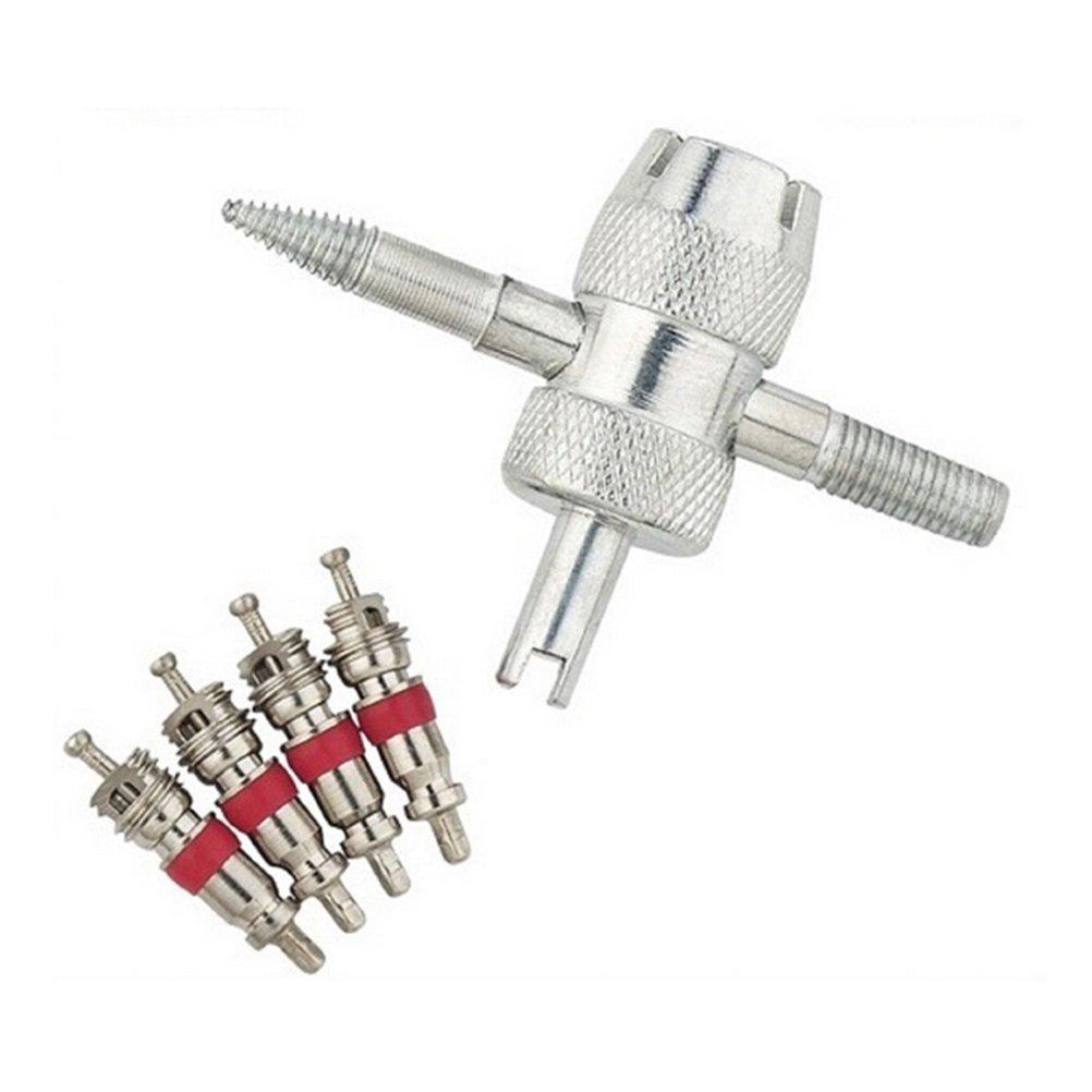 compatible con todos los veh/ículos WINOMO Herramienta de desmontaje de v/álvula de neum/ático de 4 v/ías con 6 n/úcleos de v/álvula