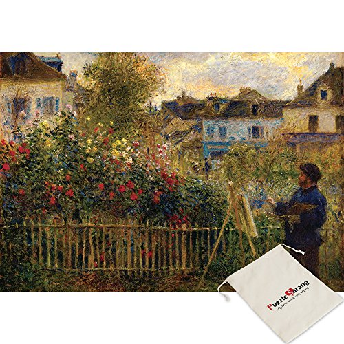 Puzzle Life,Monet Draws in His Garden in Argenteuil - Pierre Auguste Renoir - 1000 Piece Jigsaw Puzzle [Pouch Included] ()