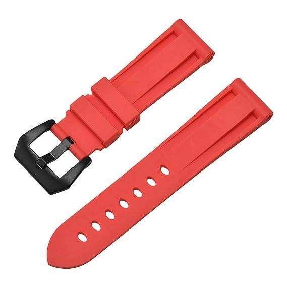 bd02327bc3ba 24mm de Silicona Reloj Rojo para Hombre Pulseras de Reloj de Goma Correas  Deporte Resistente al Agua Pulsera  Amazon.es  Relojes