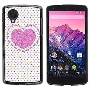 Caucho caso de Shell duro de la cubierta de accesorios de protección BY RAYDREAMMM - LG Google Nexus 5 D820 D821 - Polka Dot Love Pink Pattern White