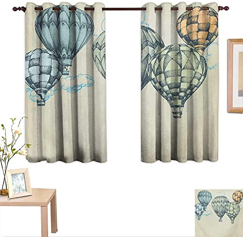 MartinDecor Vintage Blackout Draperies for Bedroom Hot Air Balloons in Soft Tones Fly in The Sky Air High Tourism Artful Design Print 63 x 63 ,Suitable for Bedroom Living Room Study, etc.