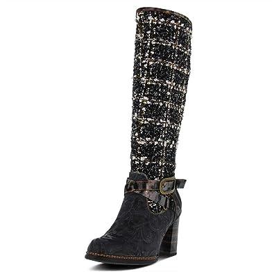 70feff4452d Spring Step L`Artiste Womens Tweed Black Multi Leather Boot - 42