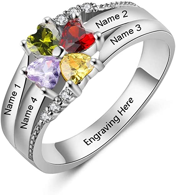 Mother Ring Custom Personalized Stacking Birthstone Ring Gift for Mom  SR0211