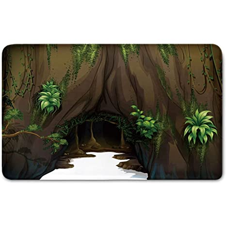Memory Foam Bath Mat,Nature,Tree Cave Surrounded with Moss Woodland Green Fantasy Secret