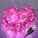 BrightTouch Pink LED String Lights - 100 Fairy Lights, Powered by USB, Bendable Copper Wire 33 feet/10M