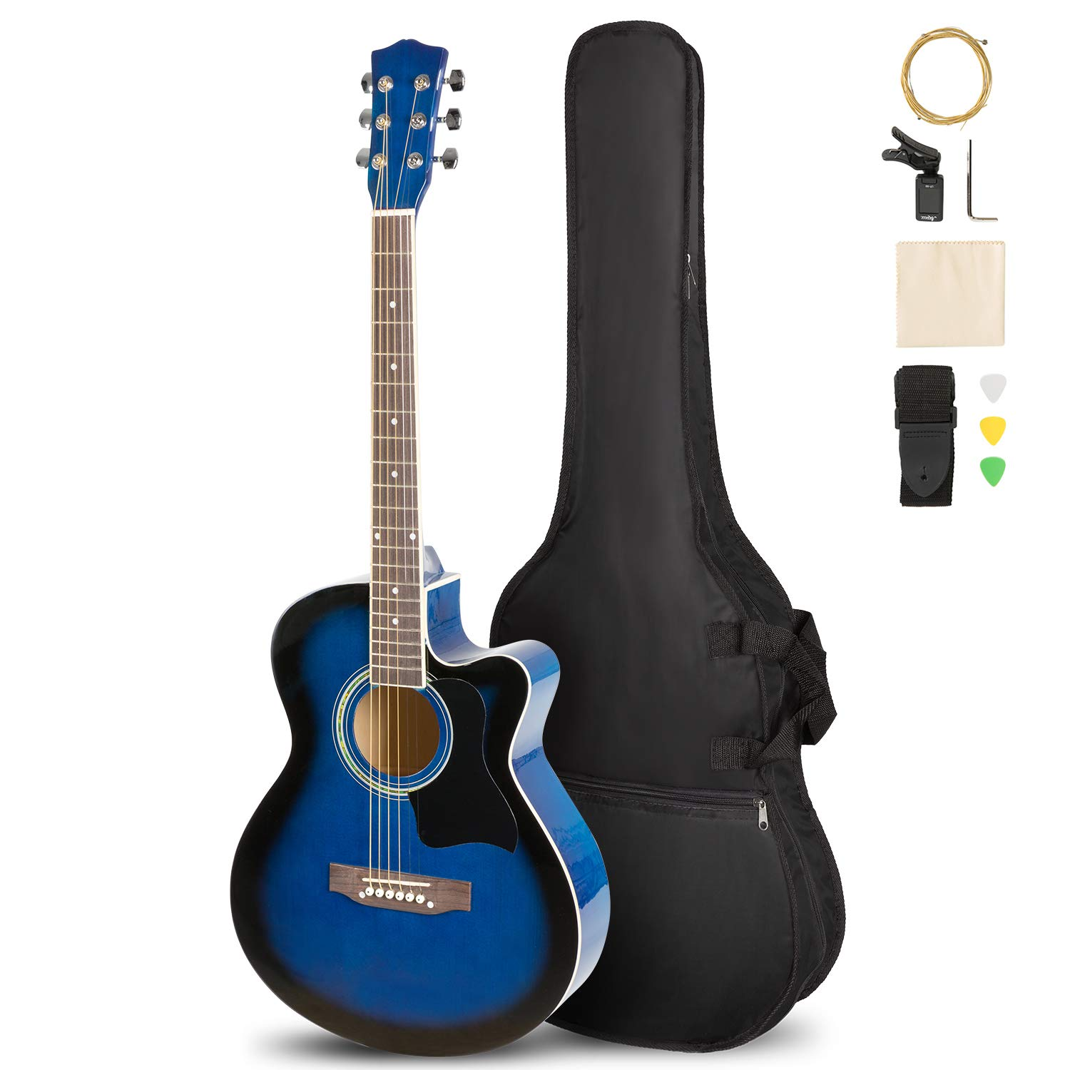 ARTALL 39 Inch Handmade Solid Wood Acoustic Cutaway Guitar Beginner Kit with Tuner, Strings, Picks, Strap, Glossy Blue by ARTALL