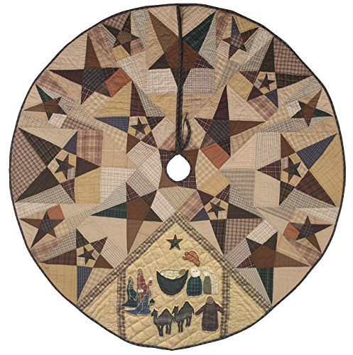 Primitive Star with Nativity Quilted Christmas Tree Skirt 60 Inches Round 100% Cotton Handmade Hand Quilted Appliqued Embroidered Heirloom ()