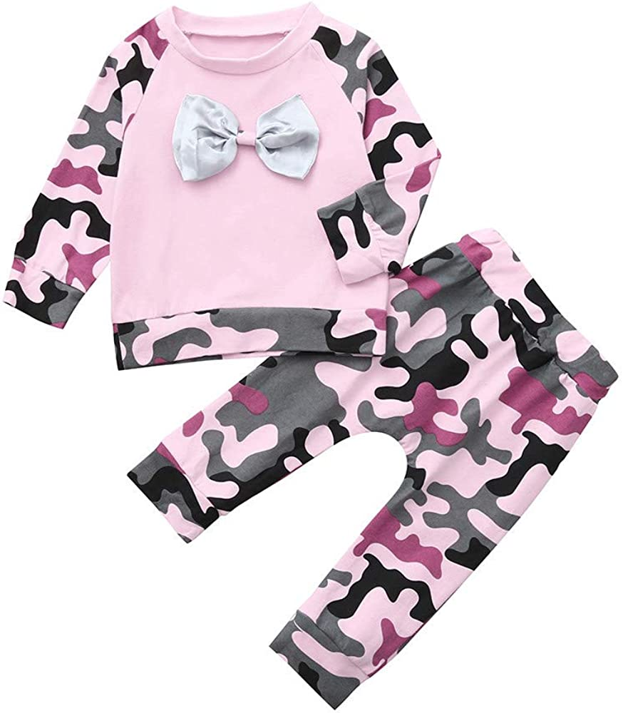 XEDUO Newborn Infant Baby Girl Boy Camouflage T Shirt Tops Pants Outfits Clothes Set
