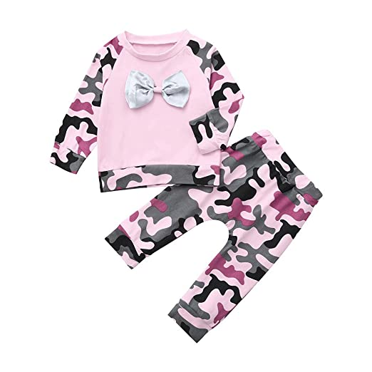 bc16dd1b10a53 2pc Baby Girl Boy Botknot Clothes Long Sleeve Fashion T Shirt Tops Pants Coming  Home Cold