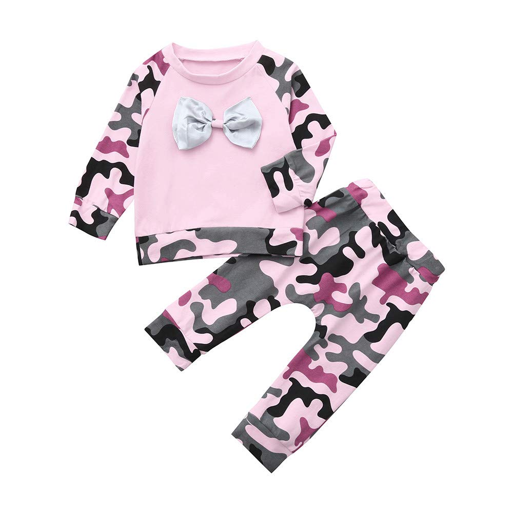 LIKESIDE Infant Baby Girl Boy Camouflage T Shirt Tops Pants Outfits Clothes Set
