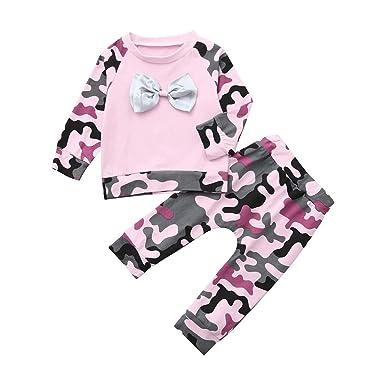 Amlaiworld Bebé recién Nacido bebé niña niño Camuflaje Camiseta Tops Sudaderas Camisas Pantalones Trajes Conjunto de Ropa 3 Mes 6 Mes 12 Mes 18 Mes 24 Mes: ...