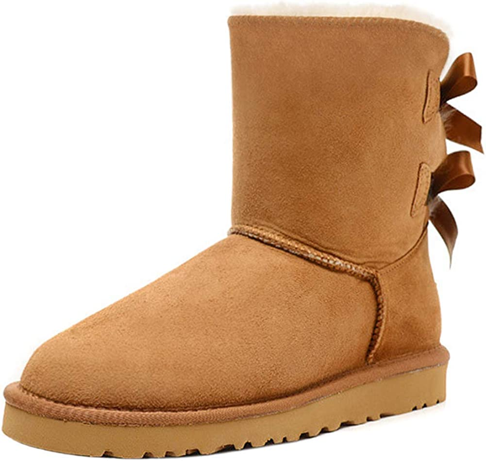 JOY IN Miami Mall LOVE Women's Snow Boots high Bow Winter Back Arlington Mall Mid-Calf for