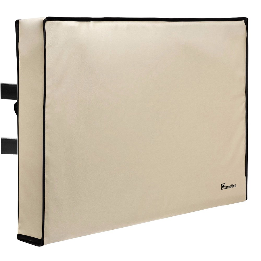 Outdoor TV Cover 70''-75'' inch - Universal Weatherproof Protector for Flat Screen TVs - Fits most TV Mounts and Stands - Beige
