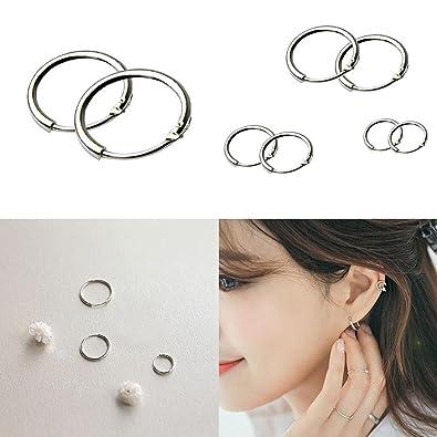 22f0919ca Amazon.com: KELAND New Round Small Sleeper Hoops Earrings 3 Pairs Earrings  Hoop 8mm 10mm 12mm (1): Jewelry