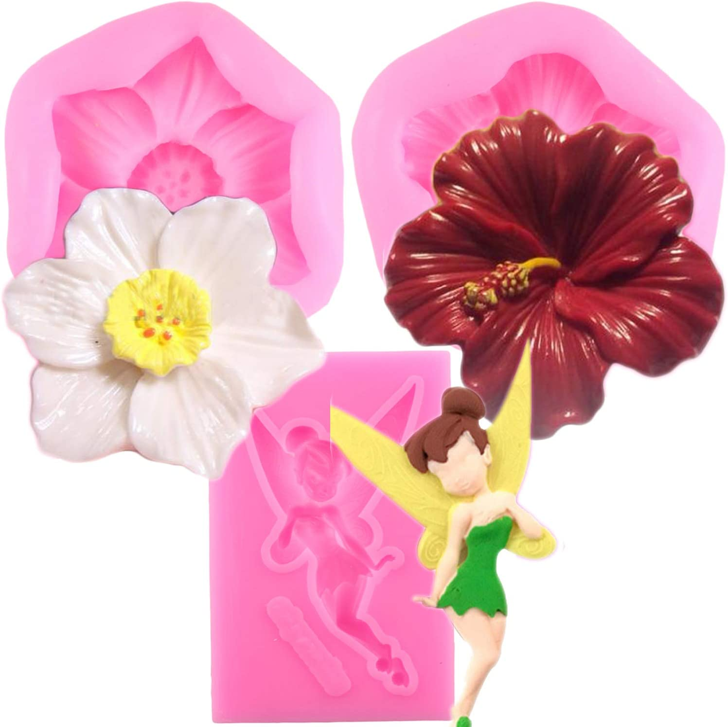 Mujiang Flower And Flower Fairy Silicone Fondant Chocolate Candy Molds