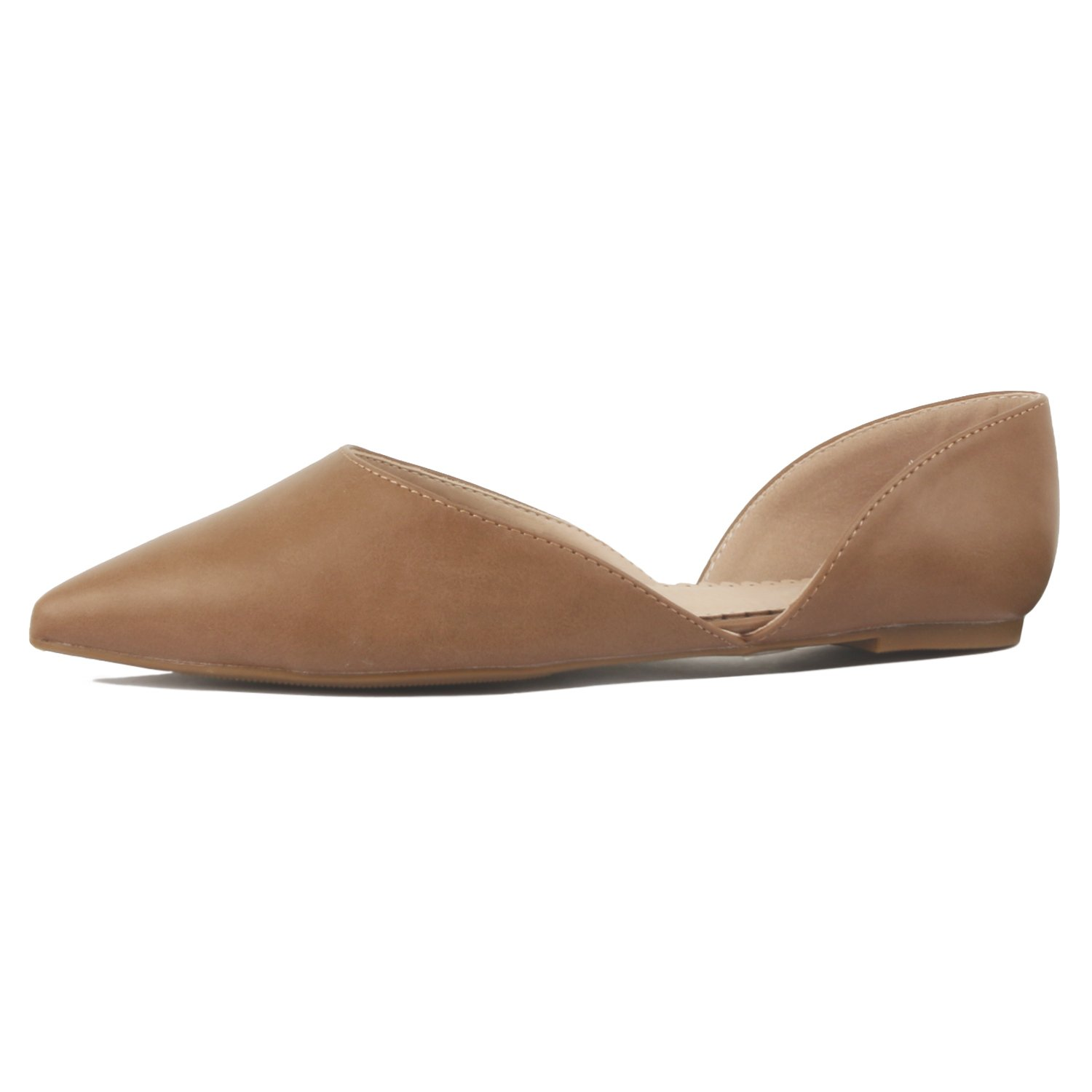 01 Mocha Pu Guilty Heart Womens D'Orsay Almond Pointed Toe Slip On Casual Flats