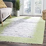 Safavieh Montauk Collection MTK711D Hand Woven Ivory and Sea Green Cotton Square Area Rug, 4 Feet Square (4-Feet Square)