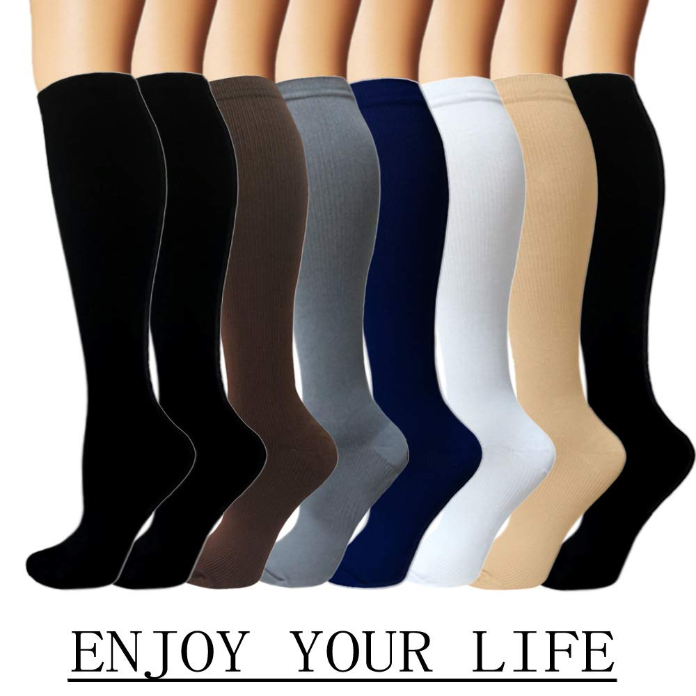 Iseasoo 7 Pack Copper Knee High Compression Socks for Men & Women-Best for Running,Athletic,Medical,Pregnancy and Travel -15-20mmHg