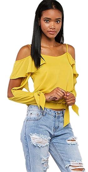 Sexy Schulterausschnitten Schlitz Ärmel Rüschen Rüschensaum T-Shirt Tee  Oberteil Top Gelb 2XL 3d23c2935b