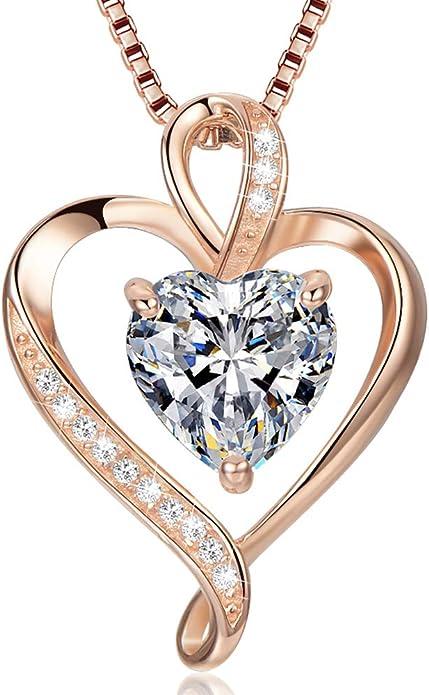 Collier coeur pour femme en argent sterling 925 en or rose